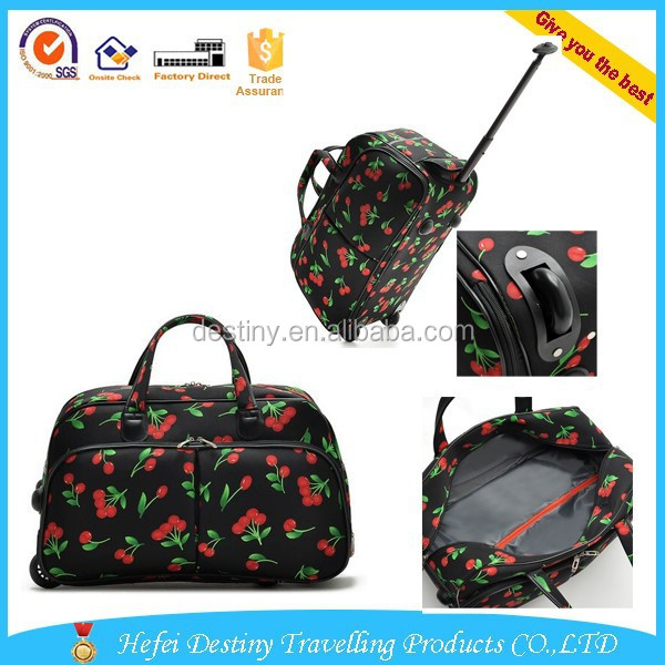convenient large capacity waterproof nylon cute cartoon tolley travel weekend bag
