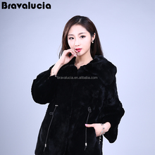 Prices women Comfortable collar long sleeves Covered black white color regular length real rex rabbit fur coat