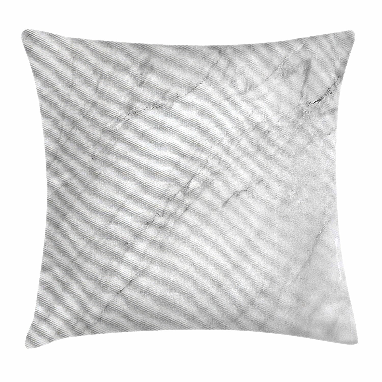 Ambesonne Marble Throw Pillow Cushion Cover, Stained Marbled Background Image Abstract Textures Monochromatic Design Print, Decorative Square Accent Pillow Case, 20 X 20 Inches, White Light Grey