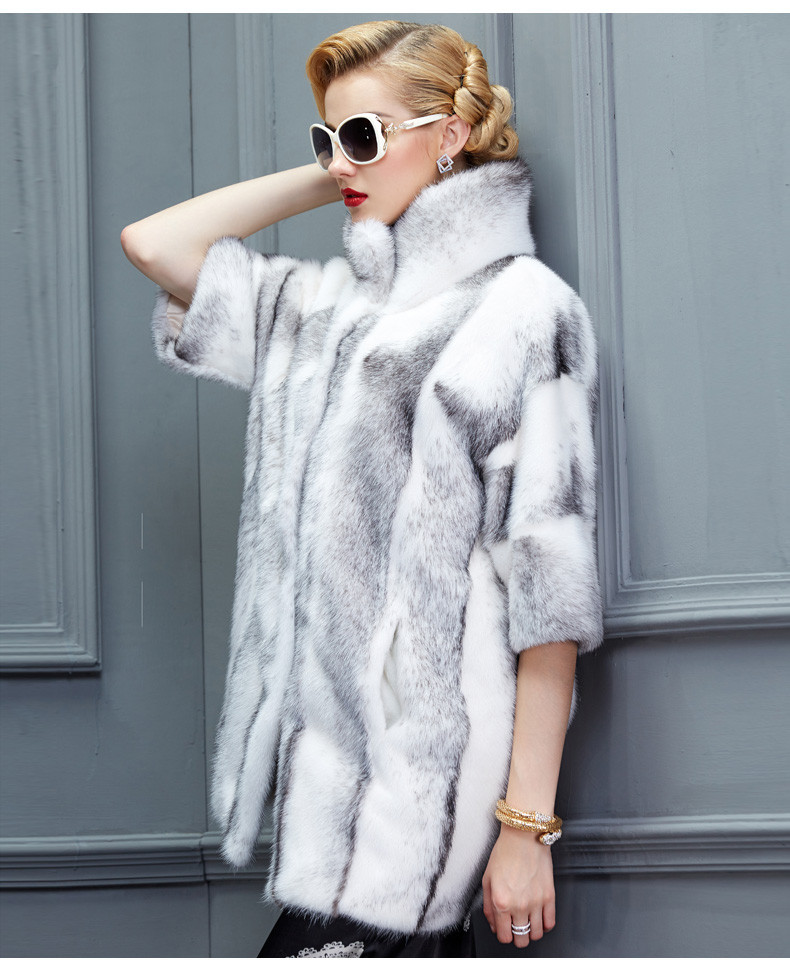 Women Luxury Cross MInk Fur Coat Facatory Customise Mink Fur Coat