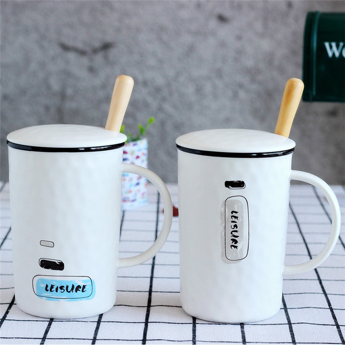 White porcelain embossed mugs wholesale Morning Ceramic Milk Coffee Mug Porcelain Coffee Cup