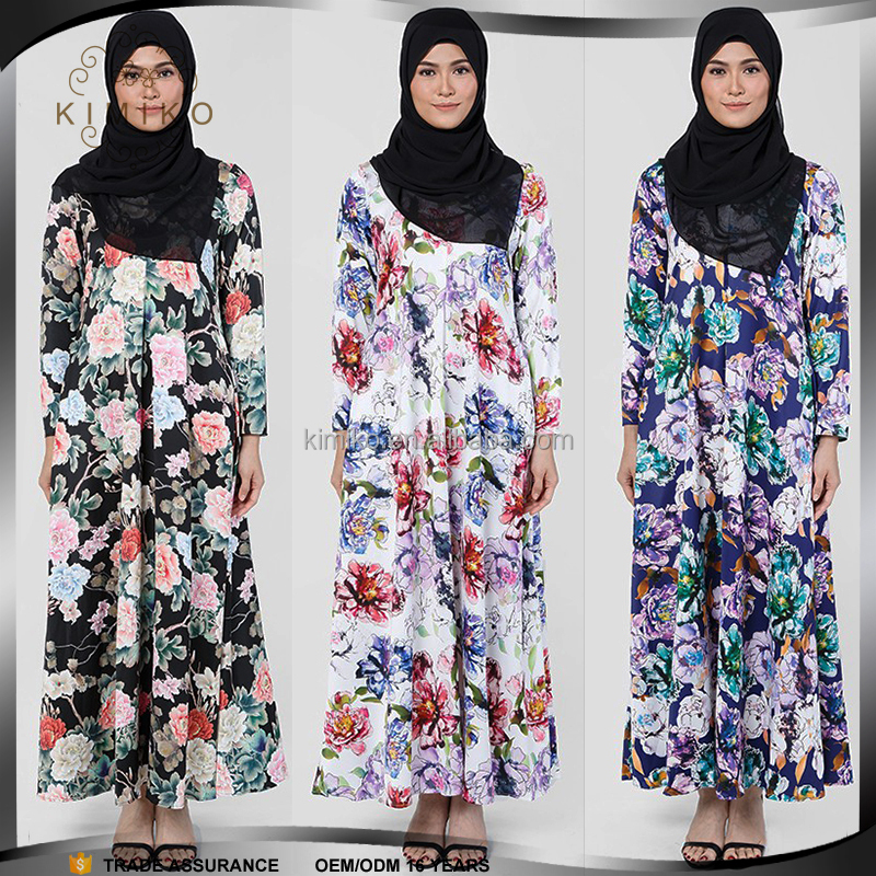 2017 Latest Fashion Print Jubah Muslimah Malaysia Maxi Dress For Women