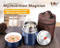Diller big round thermos vacuum insulated 304 stainless steel thermal carrier lunch tiffin box with customized logo