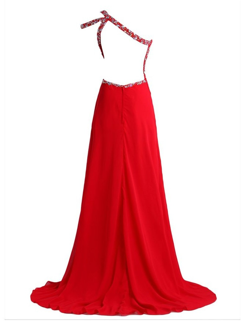 ffda30b4ad725 Abendkleider Sexy Red Long Prom Dresses 2016 Side Split One Shoulder  Chiffon Formal evening Gowns Avondjurken
