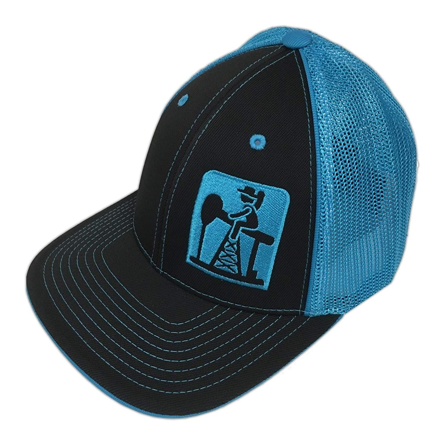 ebd0f942fdacd good fox racing elmondier hat 90e50 d69f7  cheap get quotations pump jack  cowboy brand black neon blue reverse out pumpjack logo flexfit hat