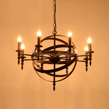 Loft Pendant Lamp Retro American Industrial Black Iron Round Chandelier Light For Living Room Dining