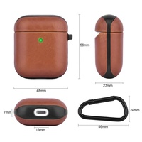 Fashion high quality PC+genuine leather PU leather protective skin cover case for Airpod case with earhook