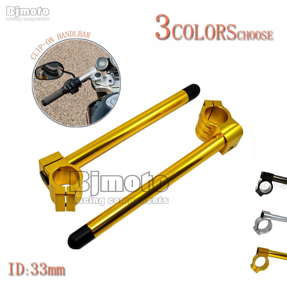 33MM CNC Clip-On Handlebar For Honda CB360 CJ360 CB-350 1972-1974 CB-400T (Gold)