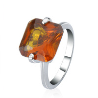 925 Sterling Silver gold plated Vintage Style Honey AMBER Finger Solitaire Ring
