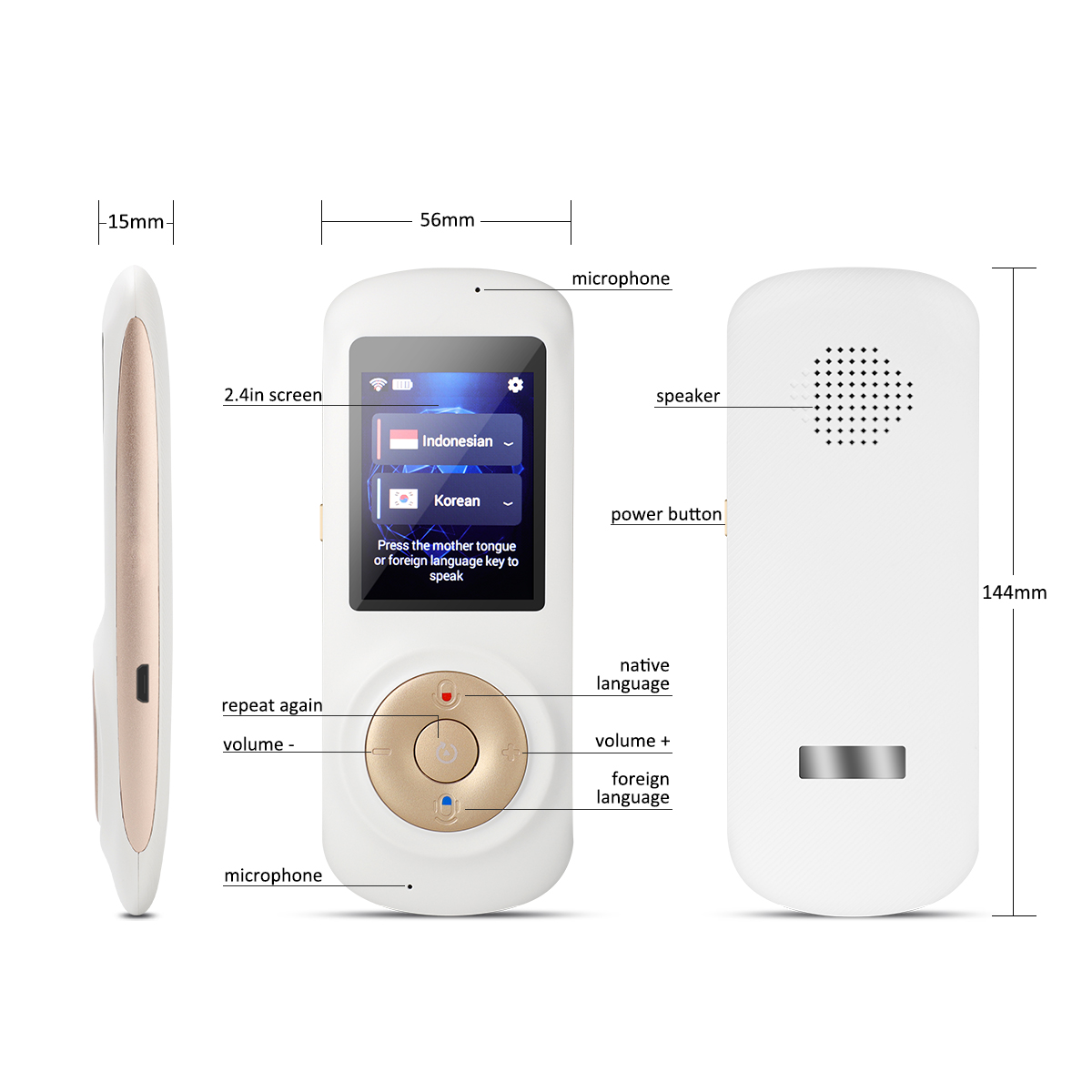2018 Hot Sales 2.4 Inch Touch Screen Mini Portable Wifi Voice online translator