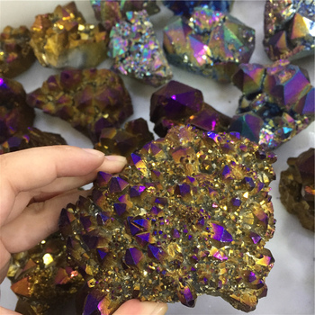 Wholesale Electroplating Crystal Cluster Yellow Angel Aura Quartz Cluster