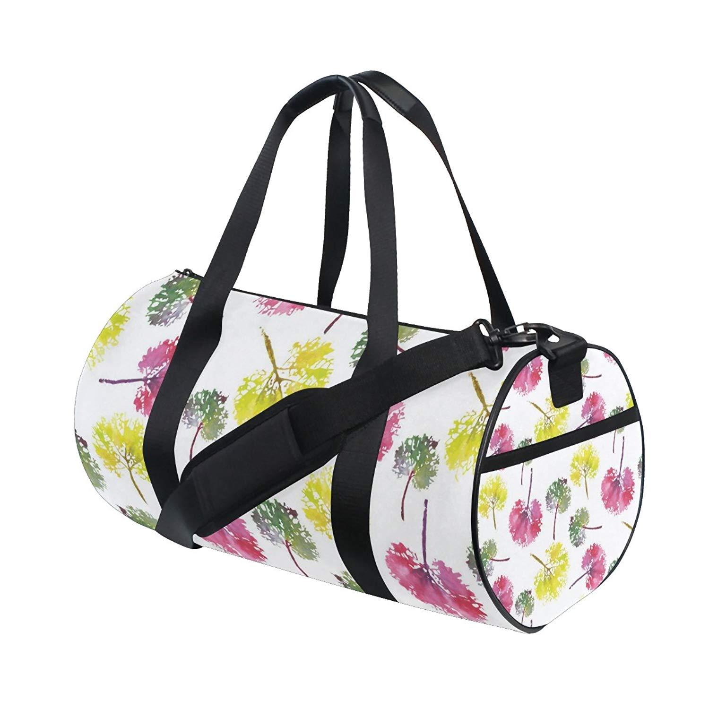 Gym Bag Watercolor Colorful Leaf Sports Travel Duffel Lightweight Canvas Bag
