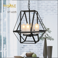 ST-6115-4 Sunbelt antique iron polyhedron metal frame chandeliers, candle led chandelier,iron led chandelier lighting