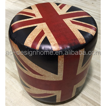 Brilliant Hot Sale Home Furniture Antique Pu Leather Wooden Ottoman With Great British American Canada Country Flags In Round Shape Buy Hot Selling Ottoman Inzonedesignstudio Interior Chair Design Inzonedesignstudiocom