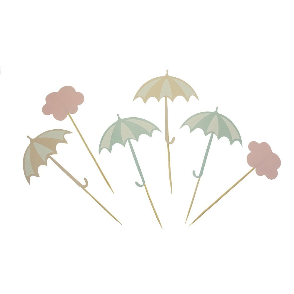 GOCROWN Umbrella and Cloud Cake Cupcake Toppers Picks for Wedding Birthday Baby Shower Party Decorations Supplies, Pack of 24