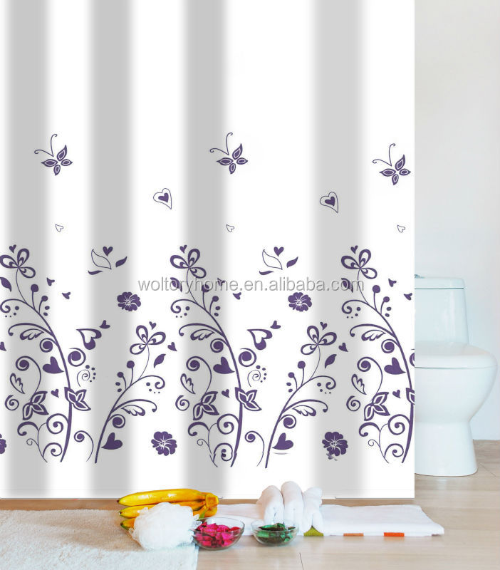 Reinforece Top Metal Eyelets Polyester Shower Curtain