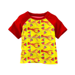new design girls red t-shirt kis baby large size clothing Wholesale girls summer printing t shirt