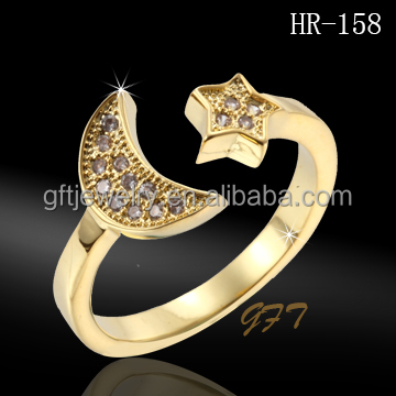 Ladies finger gold ring design star and moon split ring