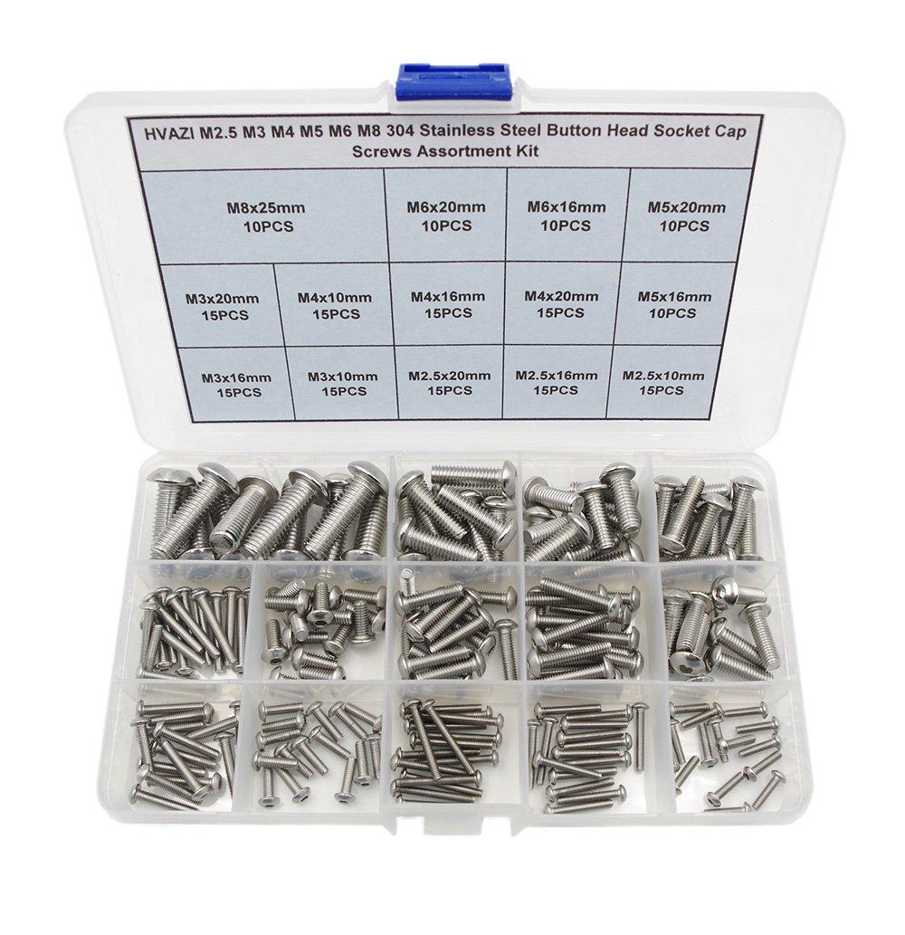 HVAZI Metric M2.5 M3 M4 M5 M6 M8 304 Stainless Steel Button Head Socket Cap Screws Assortment Kit