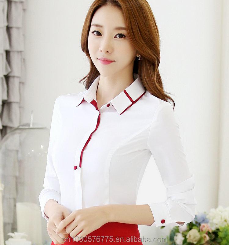 Venta al por mayor blusas sencillas en chifon compre Diseno de uniformes para oficina 2017