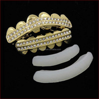 Hip Hop Bling Gold Plated Two Row ICED OUT CZ stones Teeth GRILLZ TG012-G9