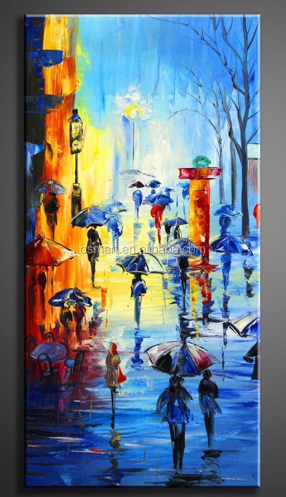 Moderne Schilderijen Canvas Schilderij Mensen Houden Paraplu\'s Op ...
