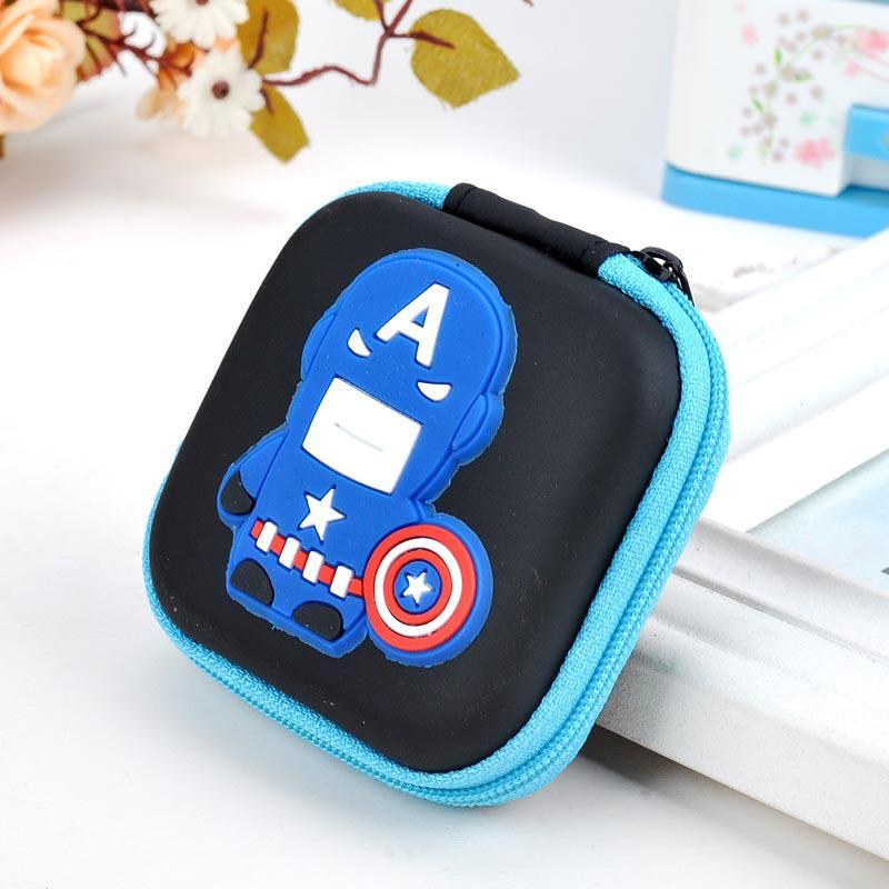 The Avengers Mini Circular Tinplate Wallet Coin Purse zipper Phone Headset bag