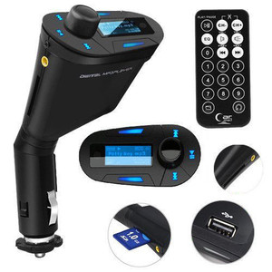 Car MP3 Player, blue Car Kit MP3 Player Wireless FM Transmitter Modulator with USB/SD/Card Reader MMC Slot and Remote Control