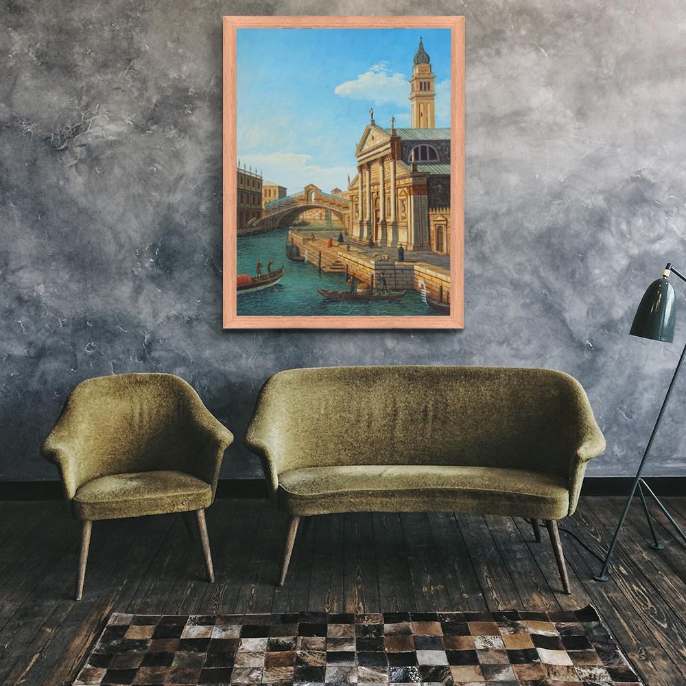 Original landscape vintage handmade Italy art old building paintings