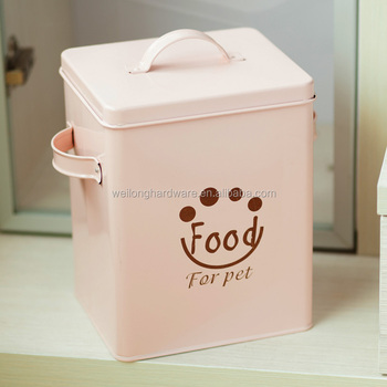 New Arrival Pink Square Metal Pet Food Container Big Size Food