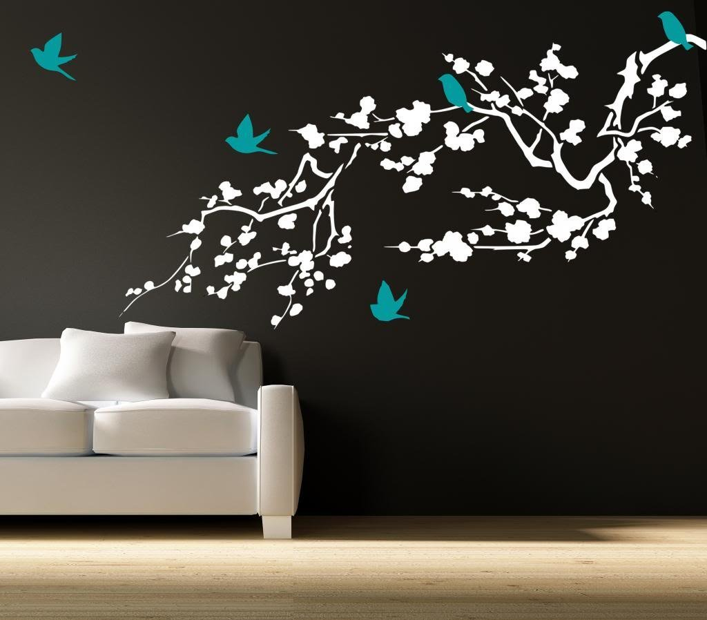 "Cherry Blossom Branch Vinyl Wall Decal 36"" W by 17"" H PLUS FREE 12"" BLACK NAME DECAL, Branch Decals, Cherry Branch Decals, Bird Decals, Branch Stickers, Branch Wall Decals, Wall Decor, Wall Cling"