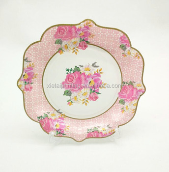 rim gold stamping tea party fancy flower printing lace paper dinner charger plates