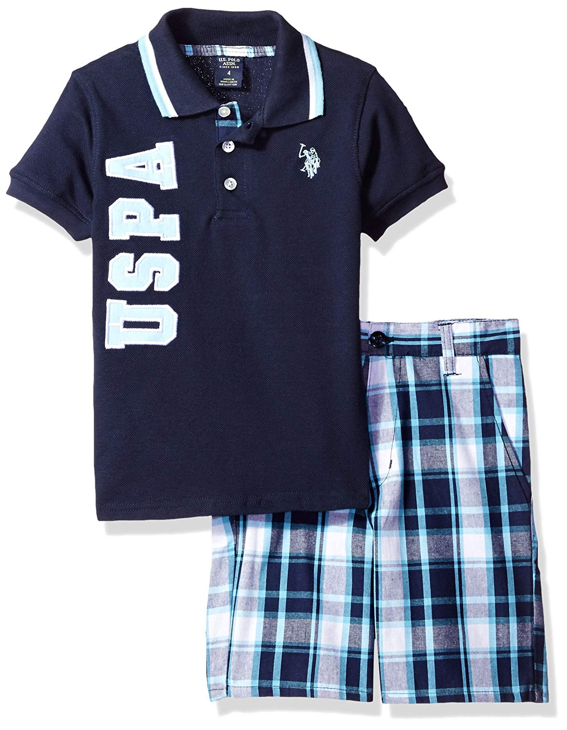 U.S. Polo Assn. Little Boys' Embellished Pique Polo Shirt and Plaid Short