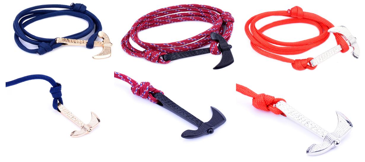 New designs hot sale handmade red nylon black/silver/gold Axe hook bracelet men jewelry