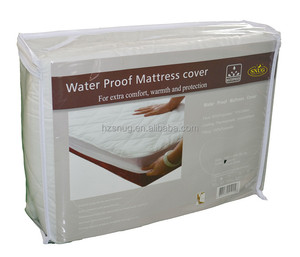 Quilted poly cotton waterproof mattress protector with elastic