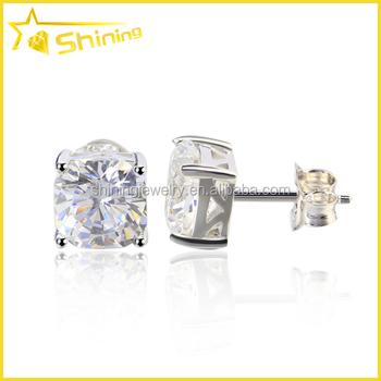 Stylish Sterling Silver Cubic Zirconia Boys Diamond Earrings