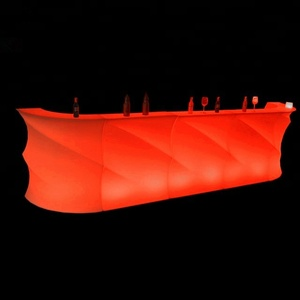 Hot sale wave shape events furnitures/led bar counter/plastic bar table