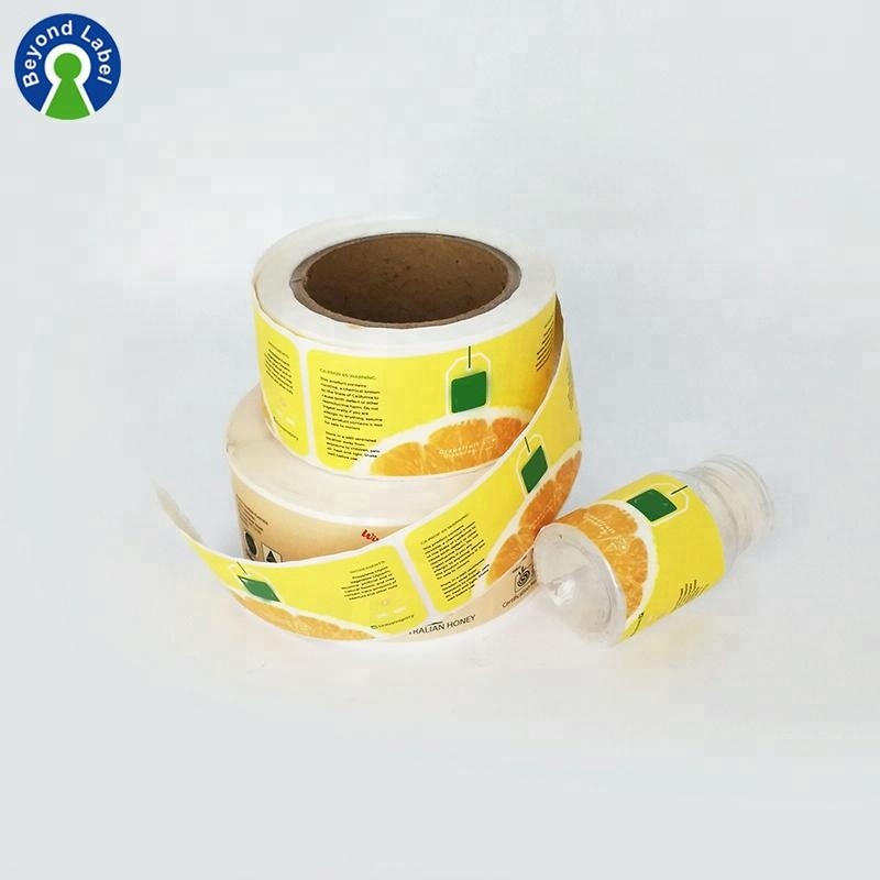 Customized Vinyl Sticker Roll Printing Plastic Water Bottle Label