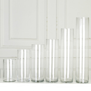 Factory Direct Cheap Tall Large Clear Borosilicate Glass Cylinder Vases for Wedding