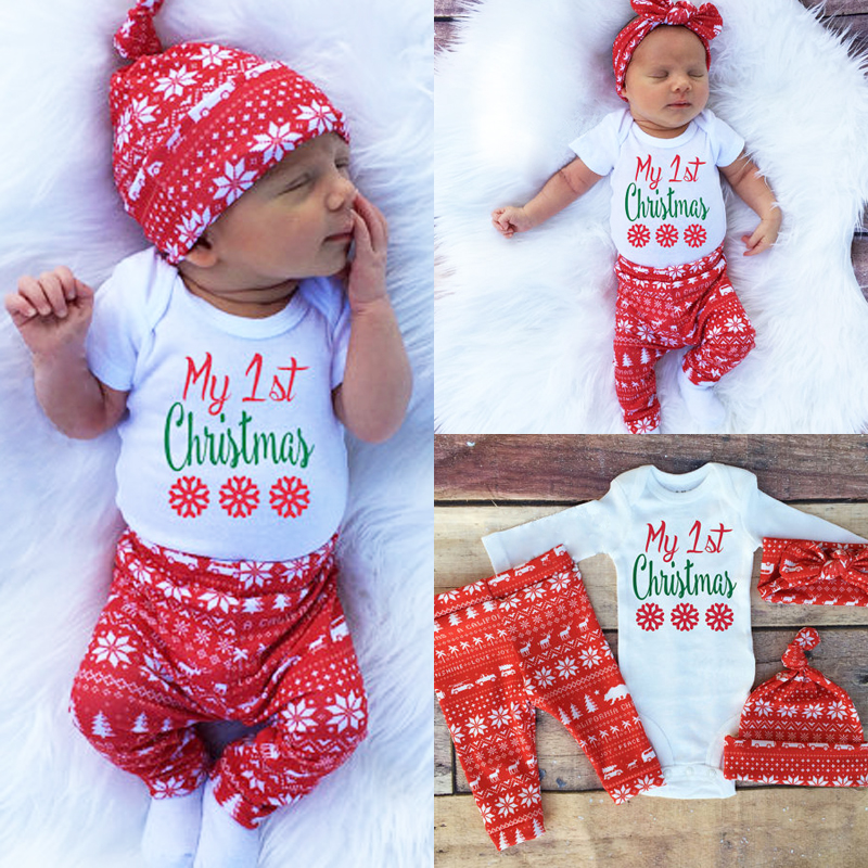 Newborn Christmas Pictures.Newborn Baby Girl Clothes Set Xmas Christmas Baby Kids Girls Boys Long Sleeve Romper Top Pant Hat Headband Clothes Set