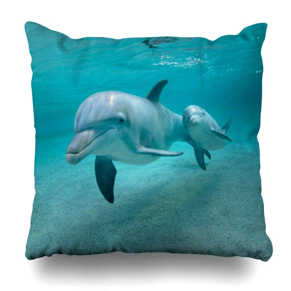 "Decorative Pillow Cover 18""X18"" Two Sides Printed Dolphin With Calf Pillow Throw Pillow Cases Decorative Home Decor Indoor/Outdoor Nice Gift Kitchen Garden Sofa Bedroom Car Living Room"