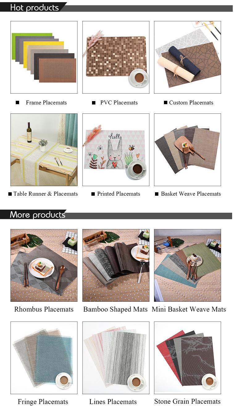 Pvc การพิมพ์ดิจิตอล Placemat กันน้ำอาหารค่ำ Placemats PVC Placemat Vintage สำหรับร้านอาหาร