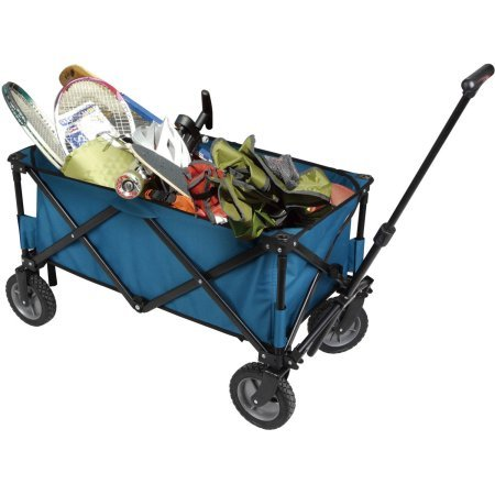 "Blue Folding Wagon , Oversized 7"" Heavy-duty Rubber Wheels By Ozark Trail"
