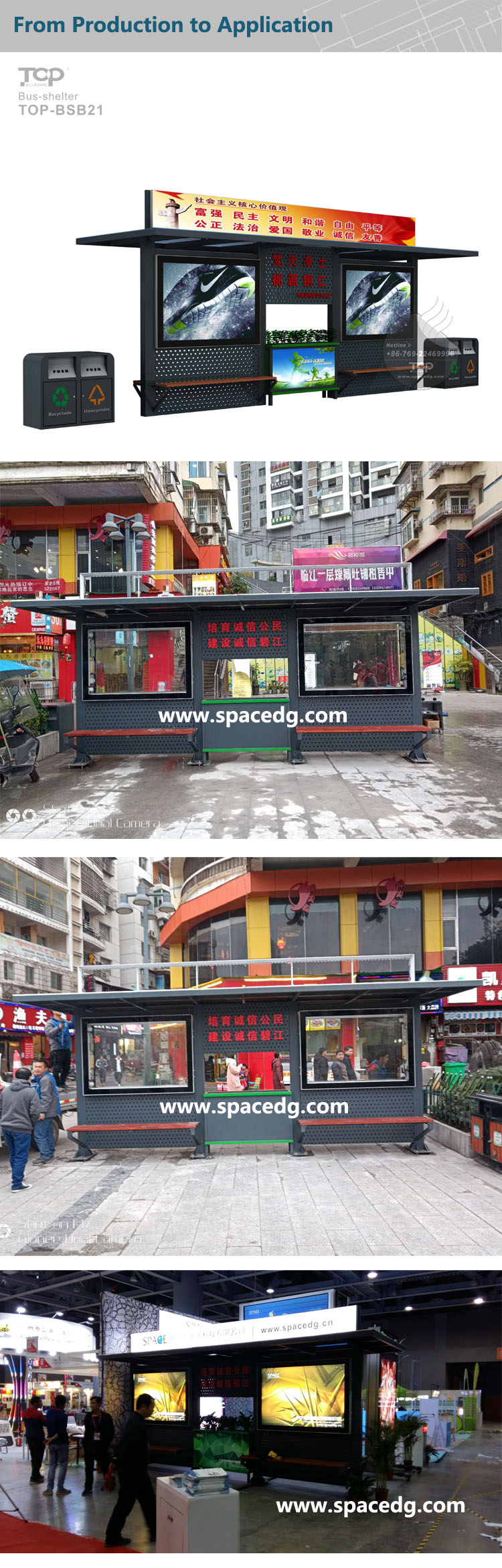 2019 Strong & Attractive New  Design Customized Size & Color Heavy-duty Casing   Bus Shelter with LED Light Box
