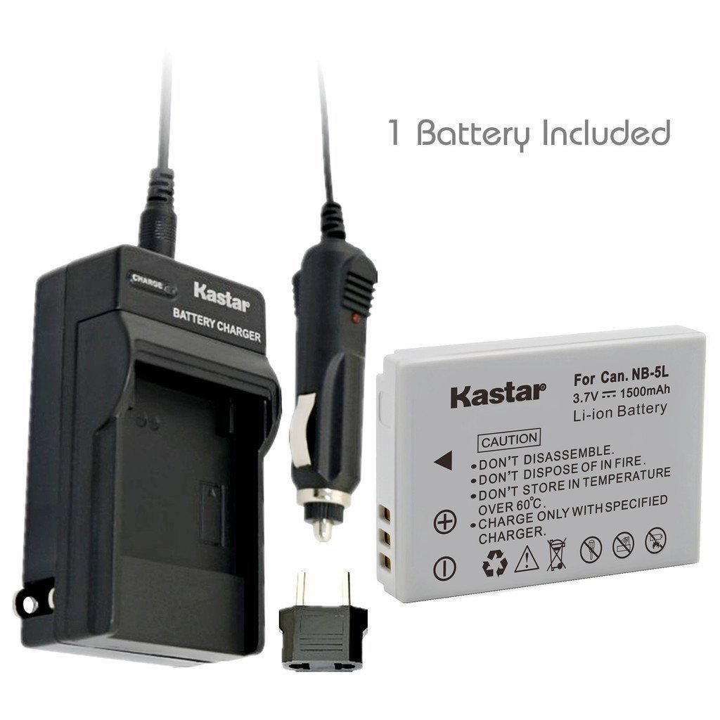 Kastar NB-5L Battery (1-Pack) and Charger for Canon PowerShot S100, S110, SD700, SD790, SD800, SD850, SD870 IS, SD880, SD890, SD900, SD950, SD970 IS, SD990 IS, SX200 IS, SX210 IS, SX220 IS, SX230 HS
