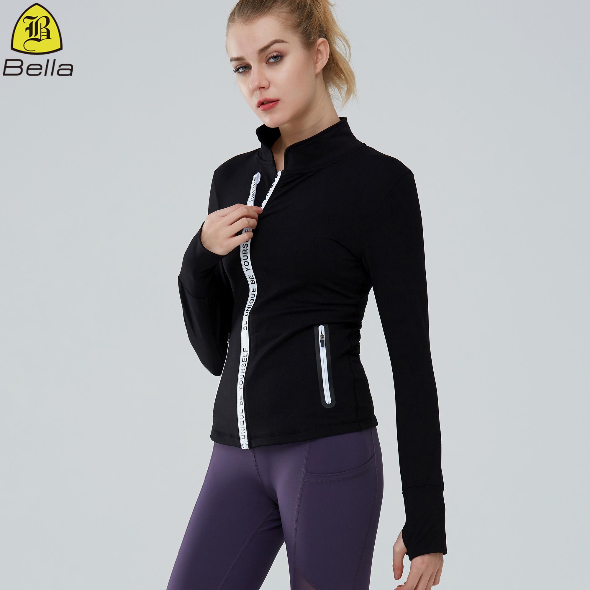 Wholesale thumb holes sports wear fashion women slim tight yoga jacket