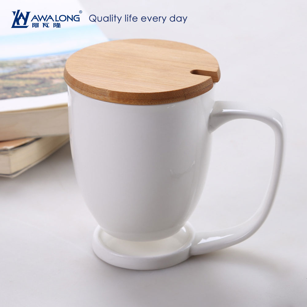 unique cup handle fine porcelain white coffee cup wooden cover steel cup spoon