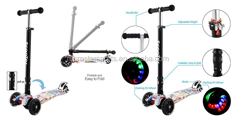 Kids Kick Push Mini Scooter TBar Tilt Turn Led Wheels Adjustable