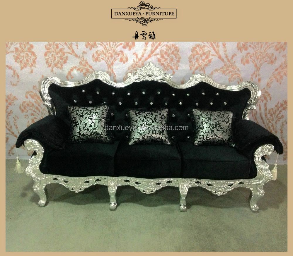 French Provincial Sofa Set High End Black Velvet Living Room Fabric Sofas Wooden Sets Designs Velour