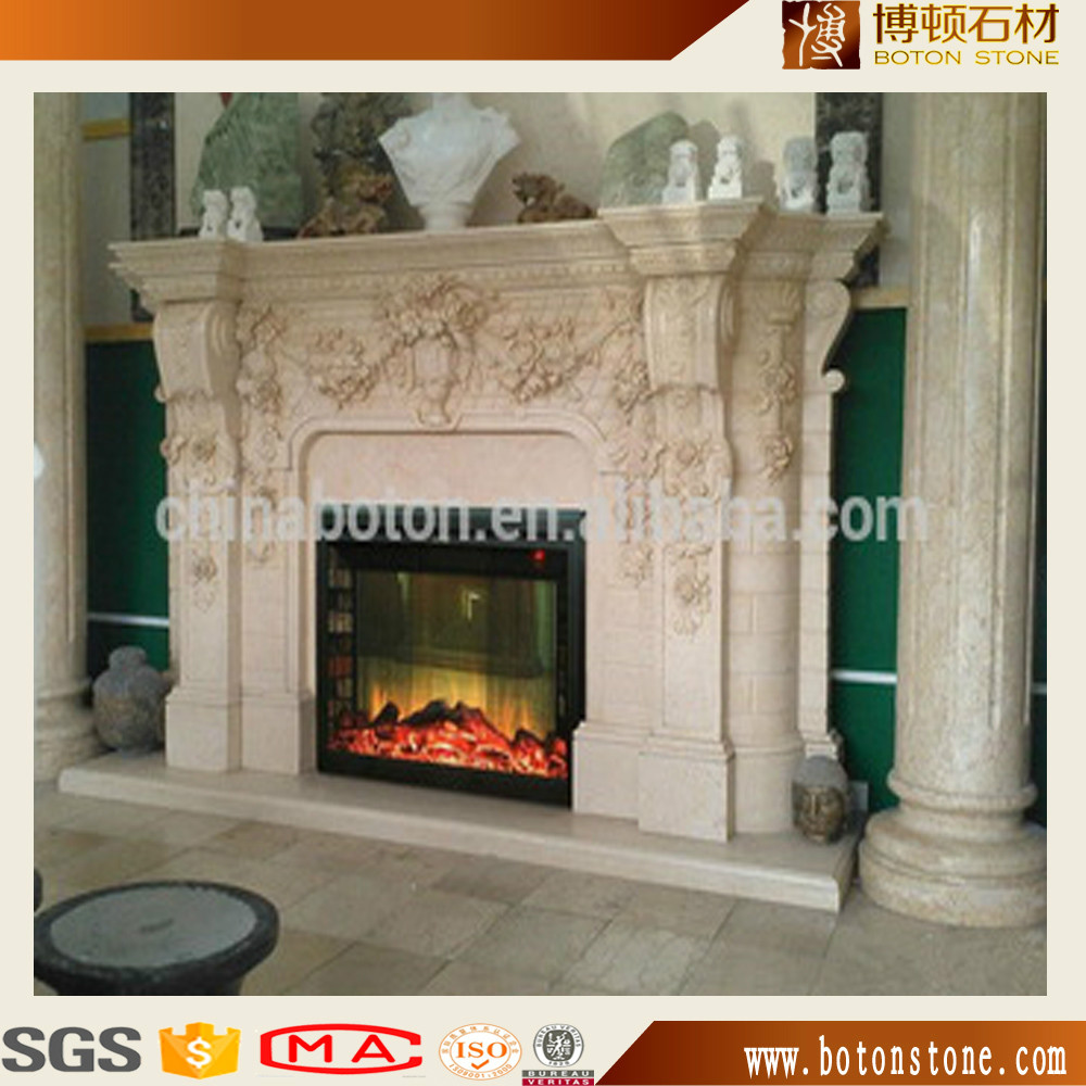 Hand Carved Cheap Indoor Marble Stone Fireplace Mantel